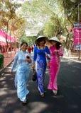 Vietnamesische Frau im Trachtenkleid lizenzfreie stockfotos
