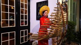 Vietnamesische Frauenabnutzung AO Dai, das T'Rung spielt stock video footage