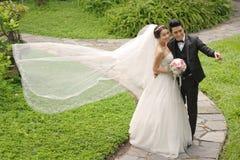Vietnamesische Hochzeitspaare lizenzfreie stockbilder