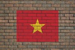 Vietnamesische Markierungsfahne auf Wand Lizenzfreies Stockfoto