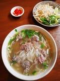 Vietnamesische Straßennahrungsmittelrindfleischnudeln Stockfotografie