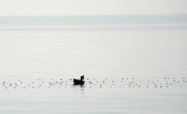Vietnamesischer Fischer mit Korbboot Lizenzfreie Stockfotografie