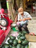 Vietnamesischer Wassermelonenverkäufer Stockfotografie