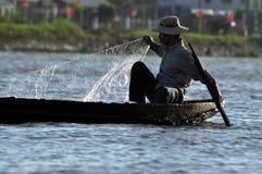 Vietnamesisches fiherman im der Mekong-Delta, Vietnam Stockbilder