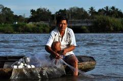 Vietnamesisches fiherman im der Mekong-Delta, Vietnam Stockfotografie