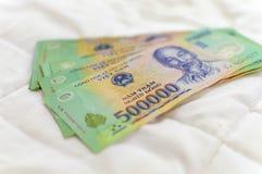 Vietnamesisk Dong för pengar 500.000 sedel Arkivbild