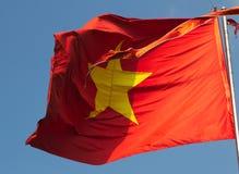 Vietnamesisk flagga, gul stjärna på ett rött fält royaltyfria foton