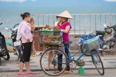 Vietnamesisk fruktsäljaregatuförsäljare Fotografering för Bildbyråer