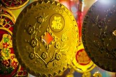 Vietnamesisk garnering för guld- mynt Arkivbilder
