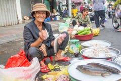 Vietnamesisk gatafruktsäljare Royaltyfria Foton