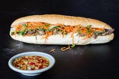 Vietnamesisk grisköttBanh Mi smörgås med koriander- och morotclose- royaltyfri foto
