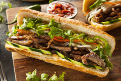 Vietnamesisk grisköttBanh Mi smörgås Fotografering för Bildbyråer
