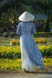 Vietnamesisk kvinna med den traditionella klänningen arkivfoto