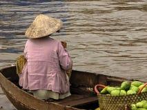 Vietnamesisk kvinna som säljer avokadon Royaltyfri Fotografi