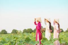 Vietnamesisk kvinnlig grupp på en träfartygasiat tre kvinnor står på träblommor för en lotusblomma för fartyg mot efterkrav h?rli royaltyfri foto