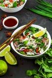 Vietnamesisk nötköttnudelsoppa Pho Bo med nötkött på mörk bakgrund royaltyfri fotografi