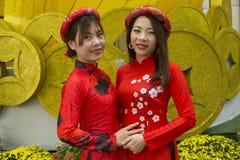 Vietnamesiska flickor i traditionella dräkter arkivfoto
