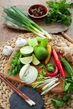 Vietnamesiskt färgrikt bräde för matingredienser Arkivbild