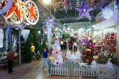 Vietnamita; acquisto, mercato, festa di natale Fotografia Stock