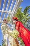 Vietnamita d'uso Ao DAI delle coppie Fotografia Stock