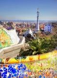 Vieuw au-dessus de la ville de Barcelone du parc Guell Images libres de droits
