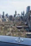 Vieuw au-dessus de verre de Central Park de New York du moment de vin Images stock