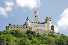 Vieuw auf Marksburg Schloss, Braubach, Deutschland Stockfotografie
