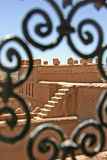 Vieuw from a Kashba. In Morocco, there are many Kashba's. If you walk through these buildings evrery window gives you a different view. Also the iron works befor stock photography