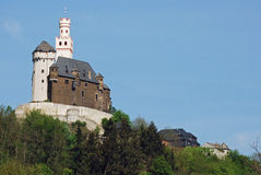 Vieuw on Marksburg Castle, Braubach, Germany stock images