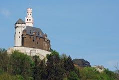 Vieuw op Marksburg Kasteel, Braubach, Duitsland stock afbeeldingen