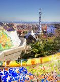 Vieuw sobre la ciudad de Barcelona del parque Guell imágenes de archivo libres de regalías