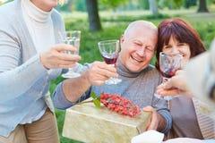 Vieux amis à la fête d'anniversaire encourageant avec du vin Image stock