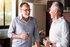Vieux amis décontractés buvant du whiskey dans la cuisine Images stock