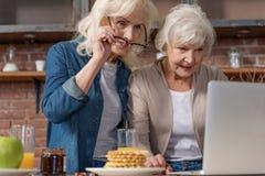 Vieux amis féminins heureux amusant avec l'ordinateur Photographie stock