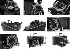 Vieux, antique, noir, appareil-photo de poche, plan rapproché de la lentille Image libre de droits