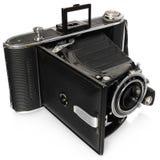 Vieux, antique, noir, l'appareil-photo de poche, regardent sous un angle d'en haut Images libres de droits