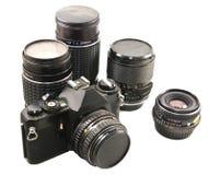 Vieux appareil-photo et lentilles de film de 35mm Photos stock