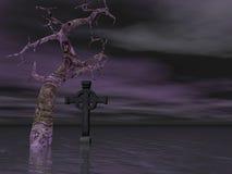 Vieux arbre et croix Images stock