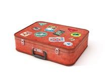 Vieux autocollants de voyage de valise illustration de vecteur