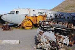 Vieux avions américains et son moteur image libre de droits