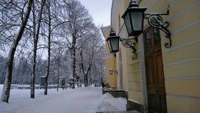 Vieux bâtiment avec les lumières décoratives en parc d'hiver photos libres de droits