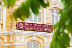 Vieux bâtiment colonial français de National Bank du Cambodge Image stock