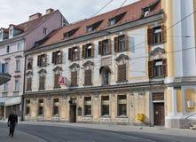 Vieux bâtiment de Zum Granatapfel de pharmacie à Graz, Autriche Photographie stock libre de droits