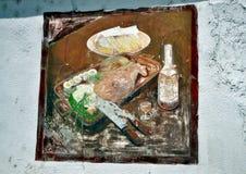 Vieux bâtiment desetred de restaurant de gril avec stupéfier les peintures peintes à la main Photos stock