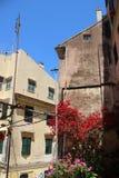 Vieux b?timent historique avec les fleurs roses de floraison image libre de droits