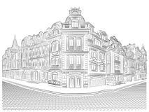 Vieux bâtiments détaillés sur le coin de la rue Image libre de droits
