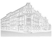 Vieux bâtiments détaillés sur le coin de la rue Photos stock