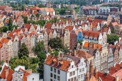 Vieux bâtiments de ville au centre de Danzig Pologne Image libre de droits
