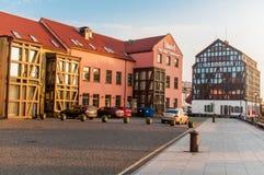 Vieux bâtiments et hôtel de port Klaipeda Photographie stock