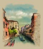 Vieux bâtiments le long des canaux, gondolier à Venise, Italie Croquis d'aquarelle, illustration photos stock